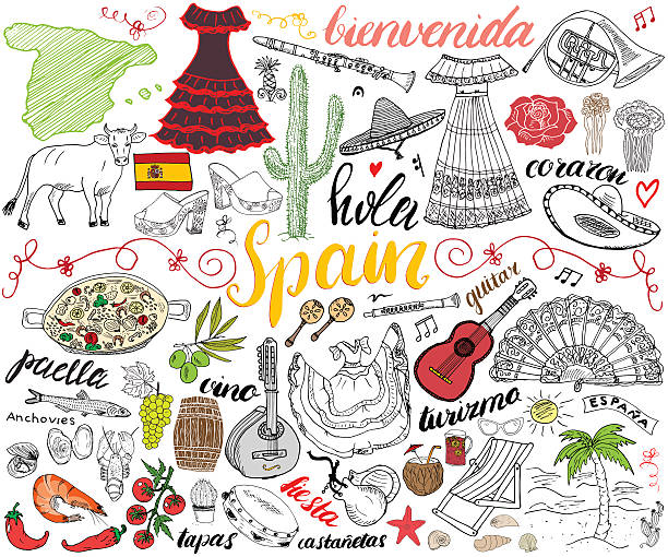 stockillustraties, clipart, cartoons en iconen met spain hand drawn sketch set vector illustration - paella