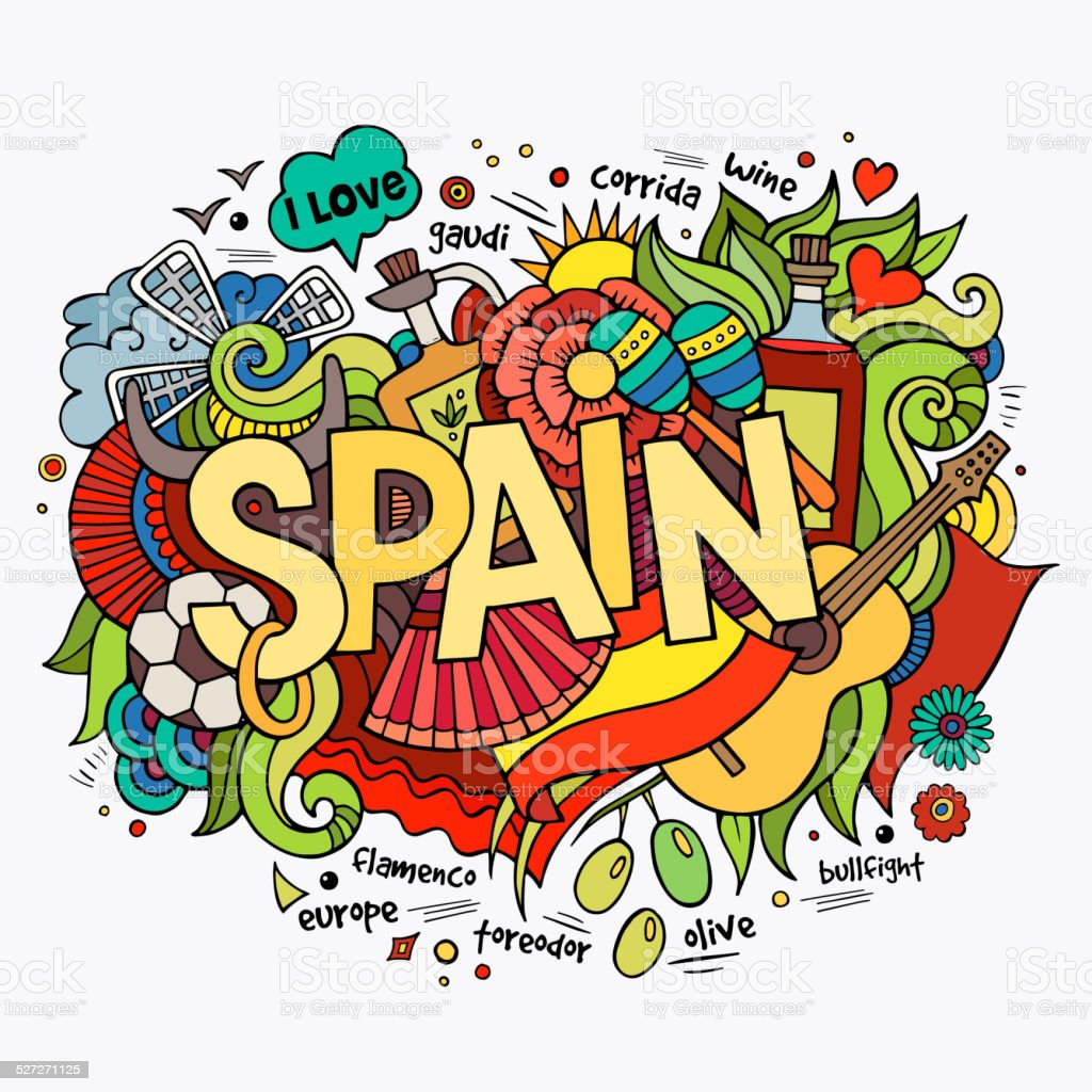 Spain hand lettering and doodles elements background vector art illustration