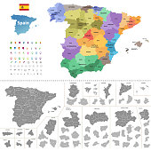Spain high detailed vector map (colored by autonomous communities) with administrative divisions. All layers detachable and labeled.