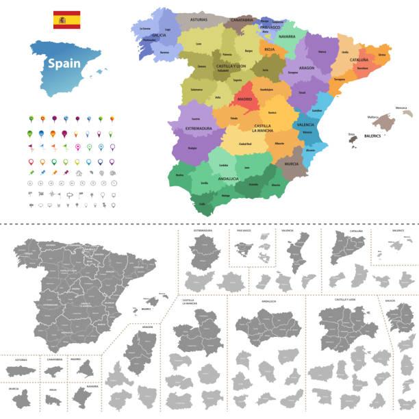 spanien hoch detaillierte vektorkarte (farbige von autonomen gemeinschaften) mit administrativen abteilungen. alle layer, abnehmbare und beschriftet. - spanien stock-grafiken, -clipart, -cartoons und -symbole