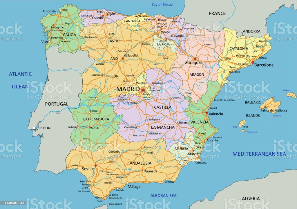 Map Of Spain Detailed.Spain Highly Detailed Editable Political Map With Labeling Stock Vector Art More Images Of Andalusia