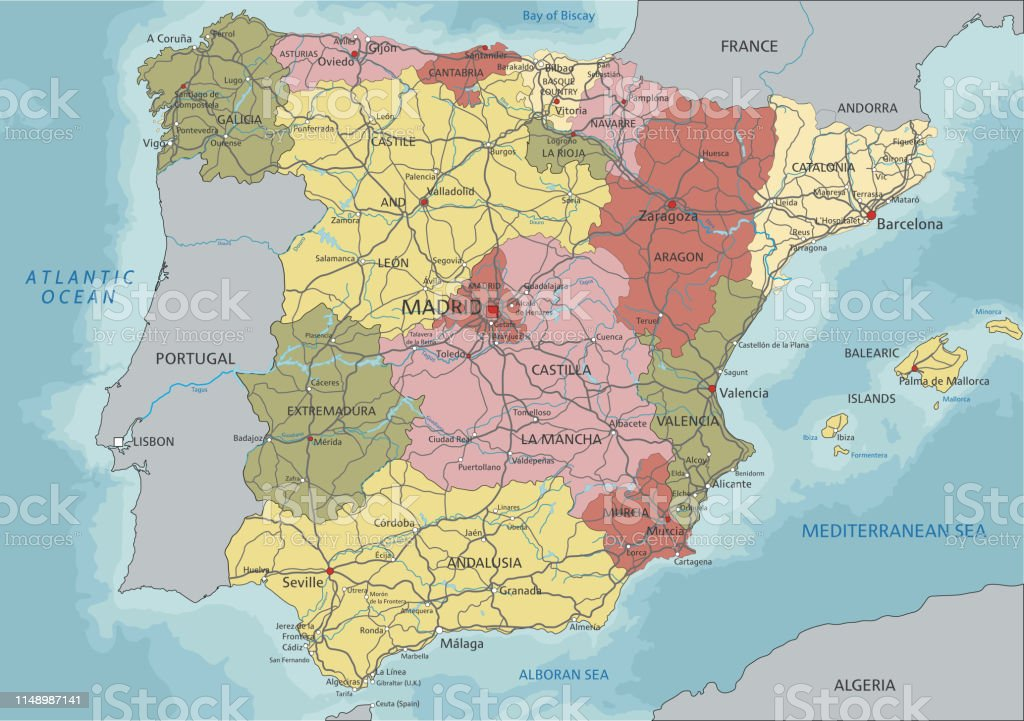 Map Of Spain Detailed.Spain Highly Detailed Editable Political Map With Labeling Stock