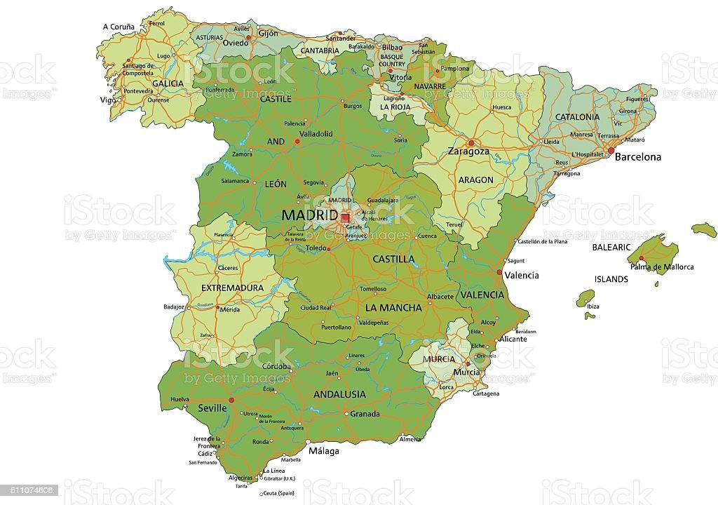 Spain - Highly detailed editable political map with separated layers. vector art illustration