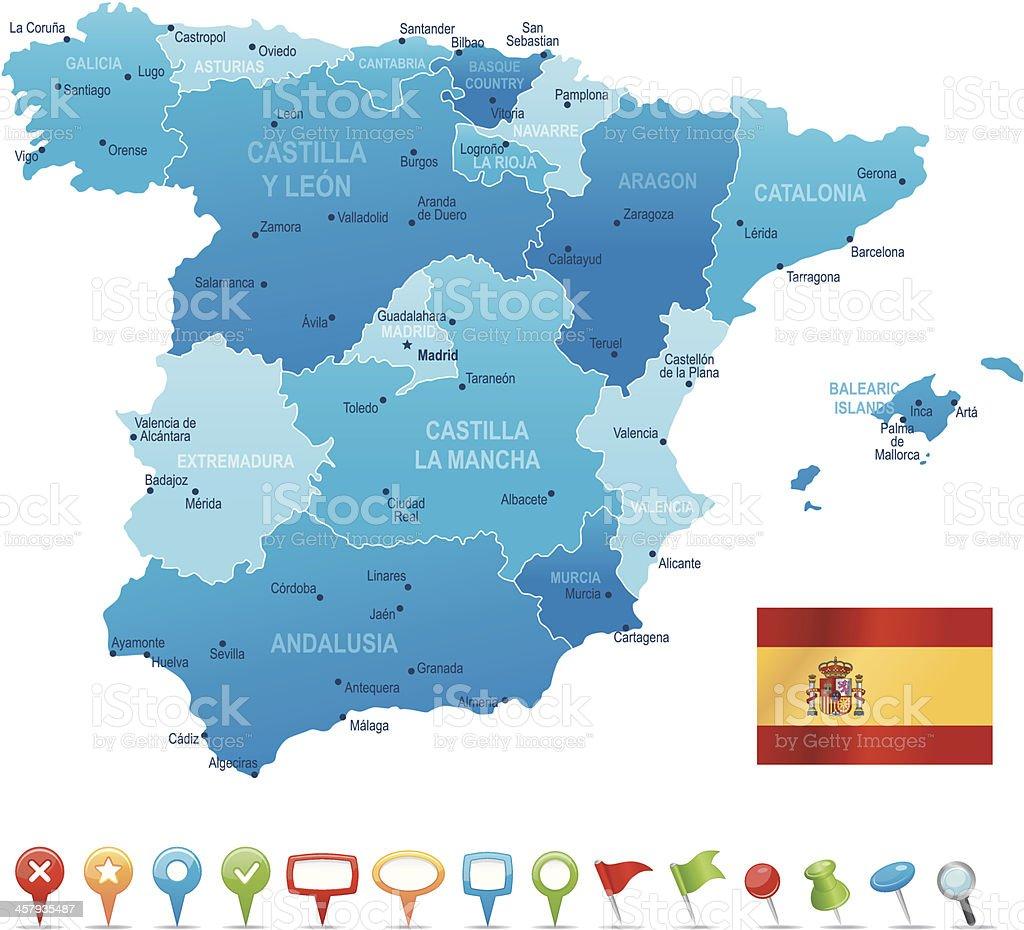 Spain - highly detailed map vector art illustration