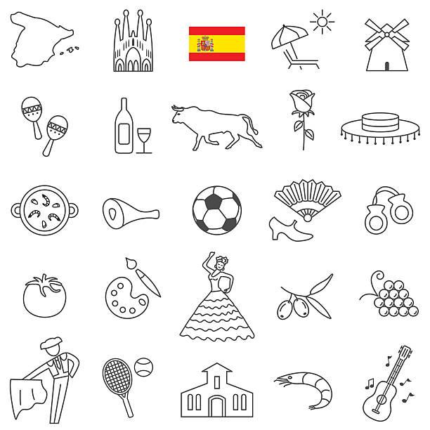 ilustraciones, imágenes clip art, dibujos animados e iconos de stock de spain icon set - comida española