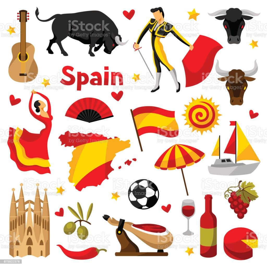 Spain icons set. Spanish traditional symbols and objects vector art illustration