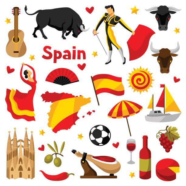 illustrazioni stock, clip art, cartoni animati e icone di tendenza di spain icons set. spanish traditional symbols and objects - spagnolo lingua