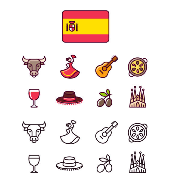 stockillustraties, clipart, cartoons en iconen met spanje icons set - paella