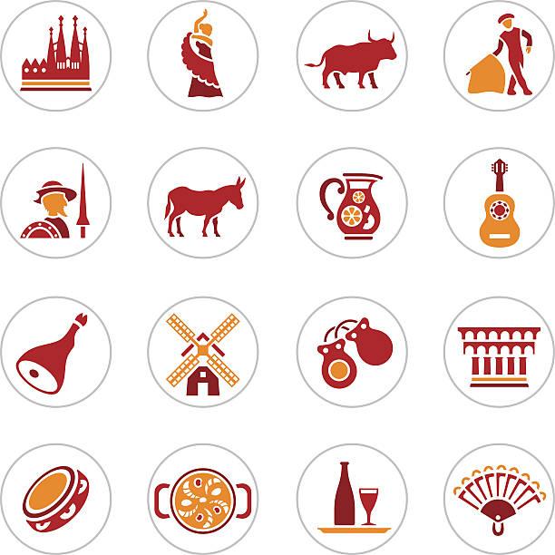stockillustraties, clipart, cartoons en iconen met spain icons - castagnetten