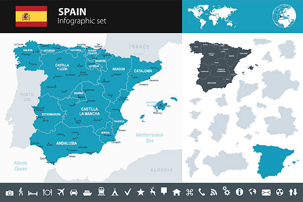 spain - infographic map - illustration - 西班牙 幅插畫檔、美工圖案、卡通及圖標