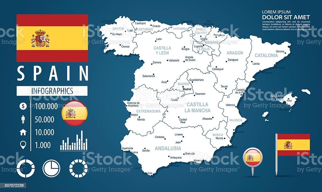 Calatayud Spain Map.Spain Infographic Map Illustration Stock Vector Art More Images Of