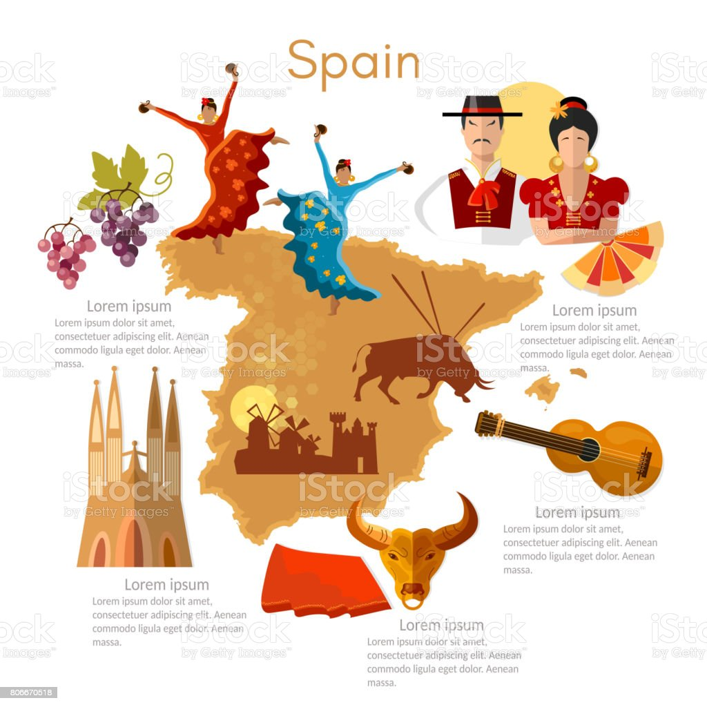 Spain infographics. sights, culture, spanish traditions, map, people. Template Spain elements vector art illustration
