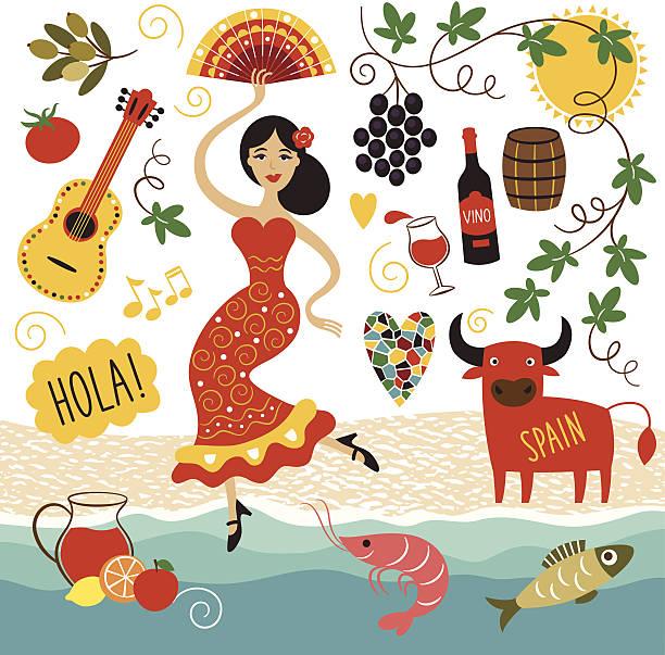 スペイン、ランドマークと記号セット - スペイン料理点のイラスト素材/クリップアート素材/マンガ素材/アイコン素材