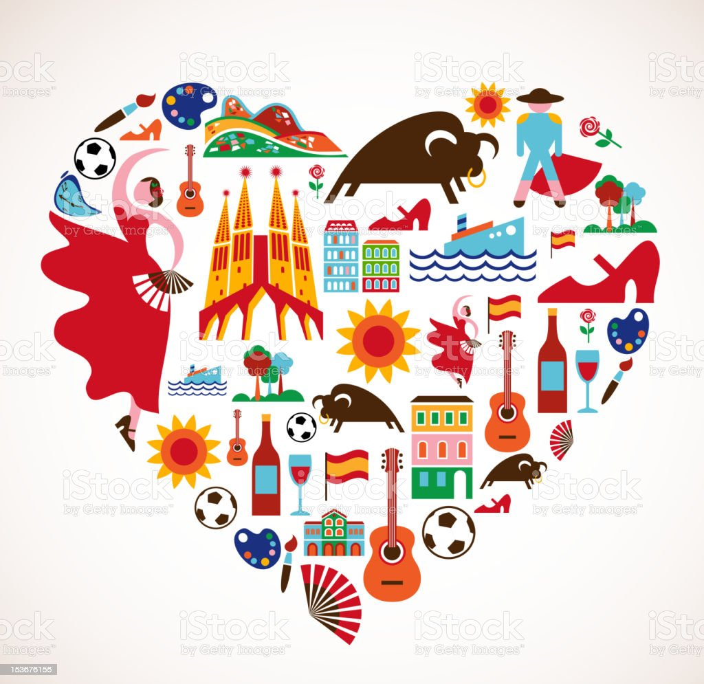 Spain Love - heart with set of vector icons vector art illustration