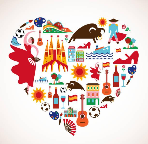 stockillustraties, clipart, cartoons en iconen met spain love - heart with set of vector icons - castagnetten