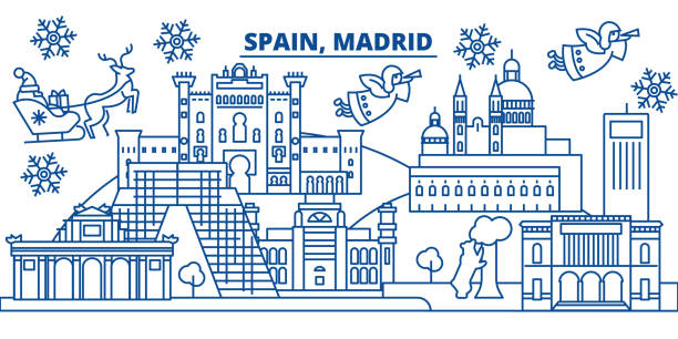 illustrazioni stock, clip art, cartoni animati e icone di tendenza di spain, madrid winter city skyline. merry christmas, happy new year decorated banner with santa claus.winter greeting line card.flat, outline vector.linear christmas snow illustration - madrid
