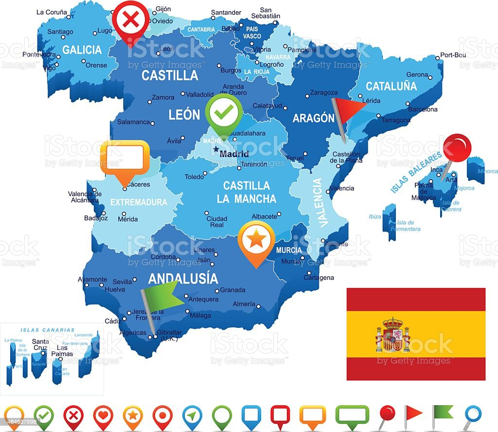 Spain Map 3d Flag And Navigation Icons Illustration Stock ... on map of maspalomas spain, map of porto spain, map of torrejon spain, map of la manga spain, map of spain major cities, map of santander spain, map of toledo spain, map of irun spain, map of rioja region spain, map of ciudad real spain, map of palamos spain, map of santillana spain, map of priorat spain, map of gava spain, map of ribera del duero spain, map of cadiz spain, map of nerja spain, map of sanlucar spain, large map of spain, map of spain with regions,