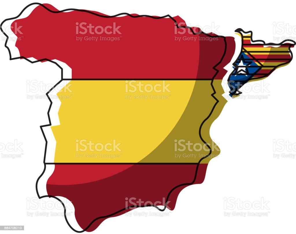 Spanien Katalonien Karte.Karte Von Spanien Und Katalonien Flagge Unabhängigkeit Stock Vektor