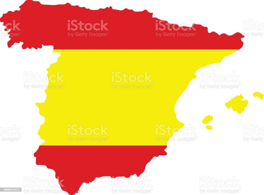 Spain map and flag vector art illustration