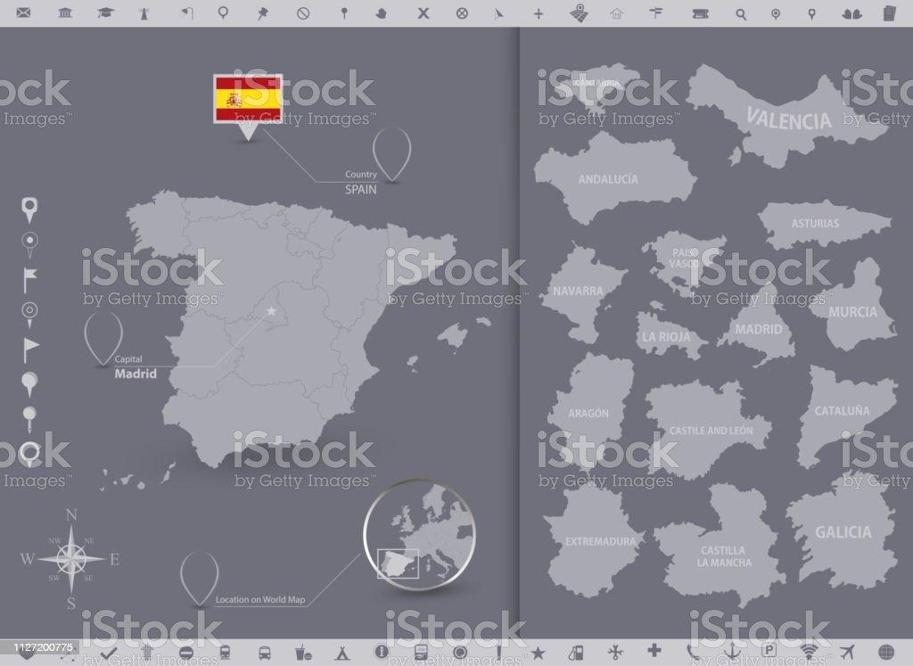 Spanien Karte Regionen.Spanien Karte Und Flagge Mit Regionen Stock Vektor Art Und