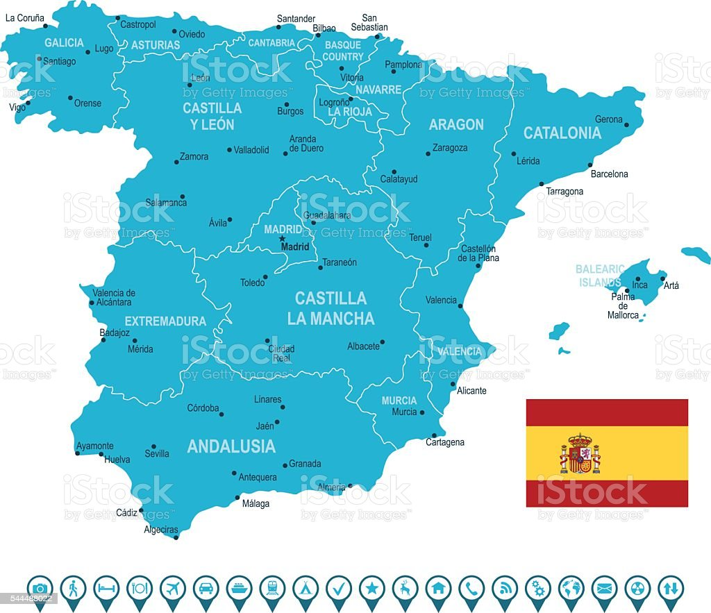 Malaga Spagna Cartina.Icone Di Navigazione E Mappa Della Spagna Immagini Vettoriali Stock E Altre Immagini Di Aragona Istock