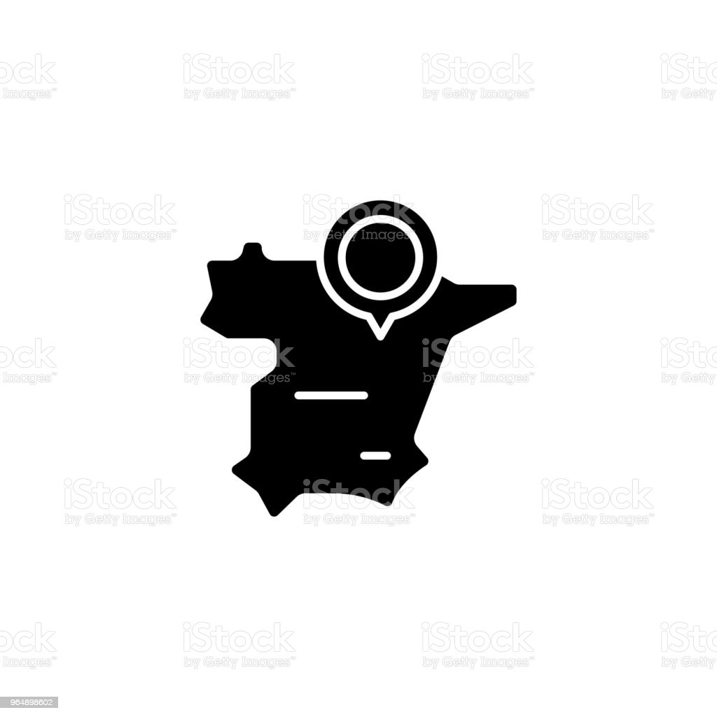Spain map black icon concept. Spain map flat  vector symbol, sign, illustration. - Royalty-free Art stock vector