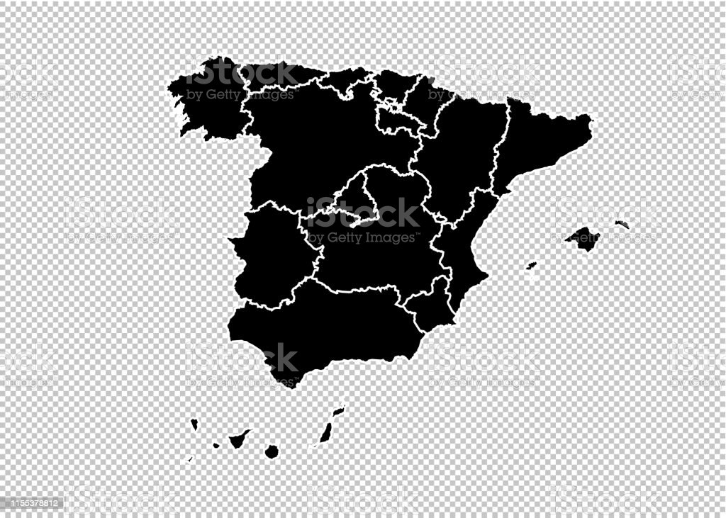 Spain Maphigh Detailed Black Map With Countiesregionsstates ...