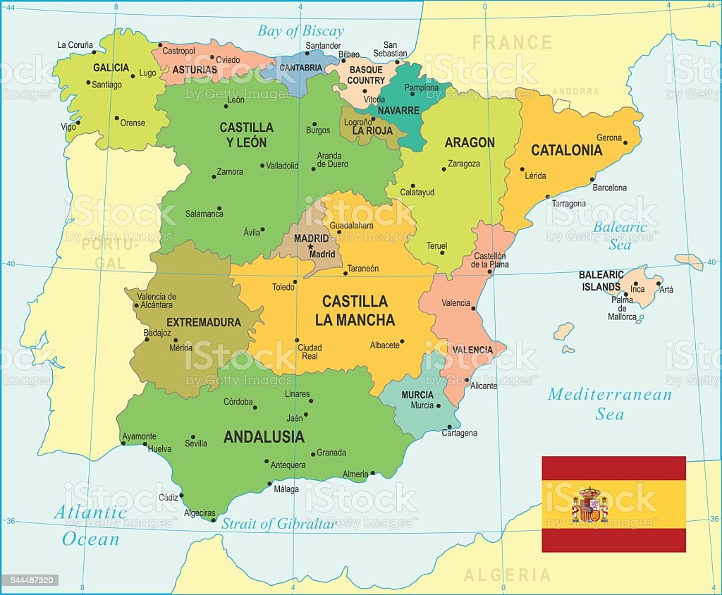 Spagna mappaillustrazione immagini vettoriali stock e for Spagna barcellona