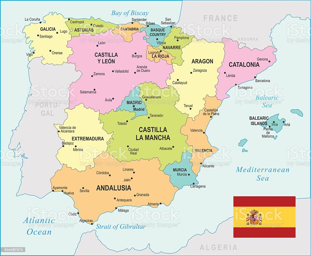 Spain Map Illustration Stock Vector Art More Images of Aragon