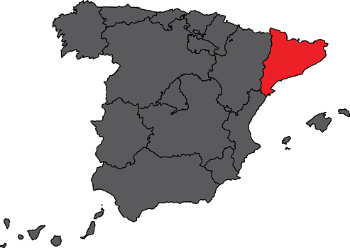 Spain map in grey with Catalonia in red color vector