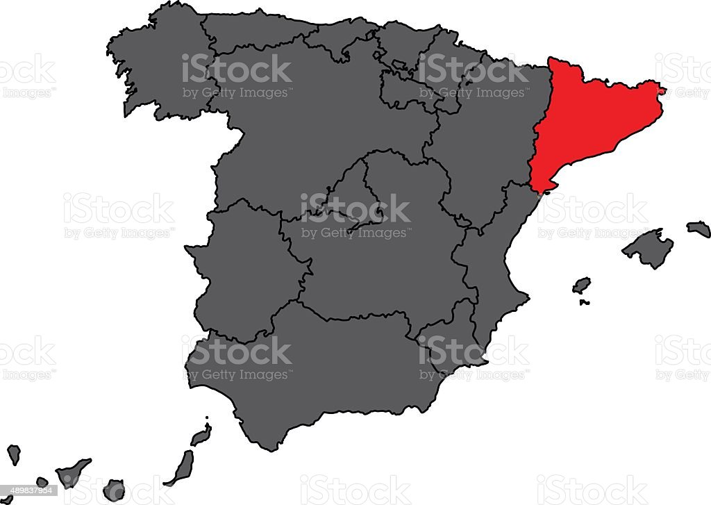Spain map in grey with Catalonia in red color vector vector art illustration