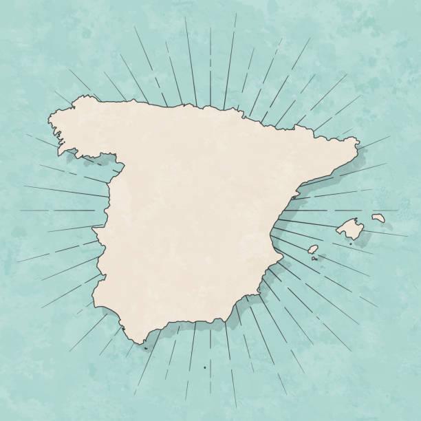 spanien-karte im retro-vintage-stil-altes strukturiertes papier - spanien stock-grafiken, -clipart, -cartoons und -symbole