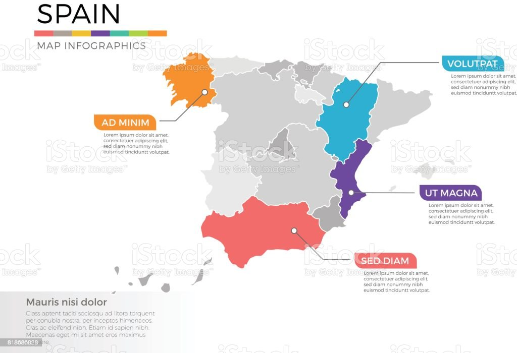 Spain map infographics vector template with regions and pointer marks royalty-free spain map infographics vector template with regions and pointer marks stock illustration - download image now