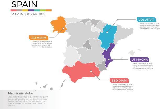 西班牙地圖資訊圖形向量範本區域與指標標記 - 西班牙 幅插畫檔、美工圖案、卡通及圖標