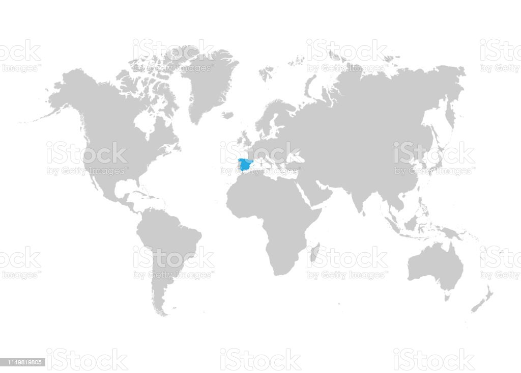 Map Of Spain On World Map.Spain Map Is Highlighted In Blue On The World Map Stock Illustration