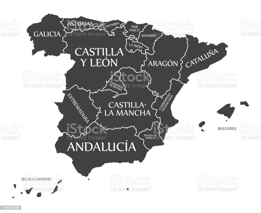 Carte Espagne Noir.Espagne Carte Marquee Noir Vecteurs Libres De Droits Et Plus