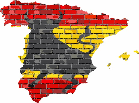 Spain map on a brick wall