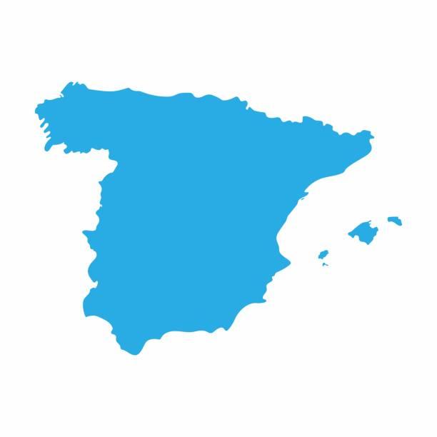 spanien landkarte auf blauem hintergrund, vektor-illustration - spanien stock-grafiken, -clipart, -cartoons und -symbole