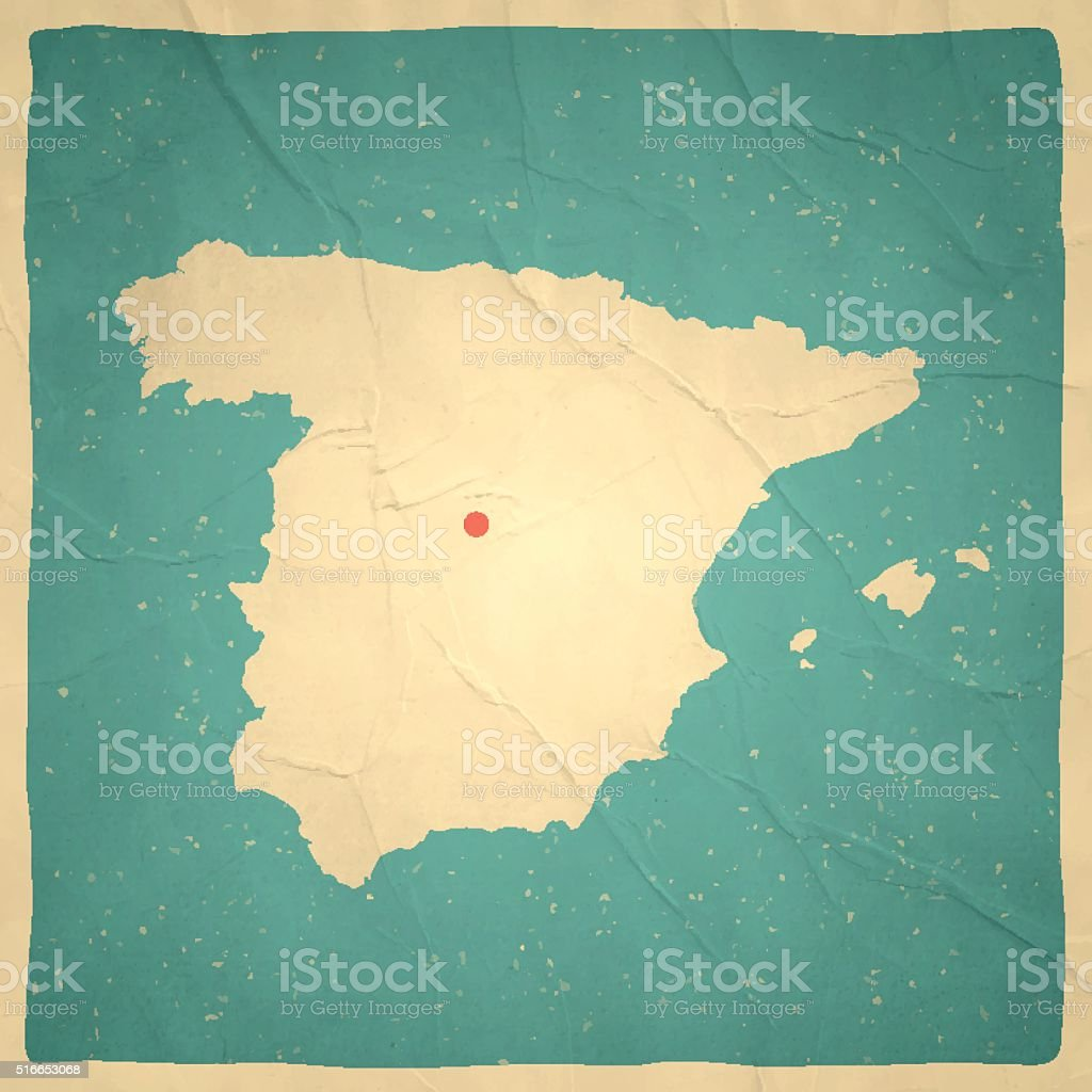 Spain Map On Old Paper Vintage Texture Stock Vector Art & More ...