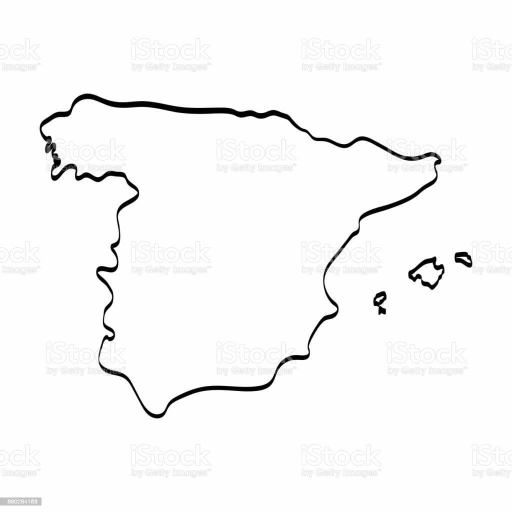 Map Of Spain Drawing.Spain Map Outline Graphic Freehand Drawing On White Background
