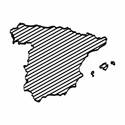 Map Of Spain Drawing.Spain Map Outline Graphic Freehand Drawing On White