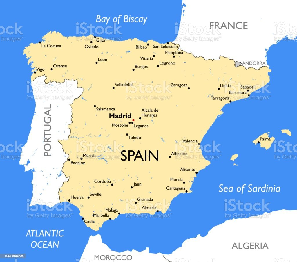 Bilbao On Map Of Spain.Spain Map Stock Illustration Download Image Now Istock