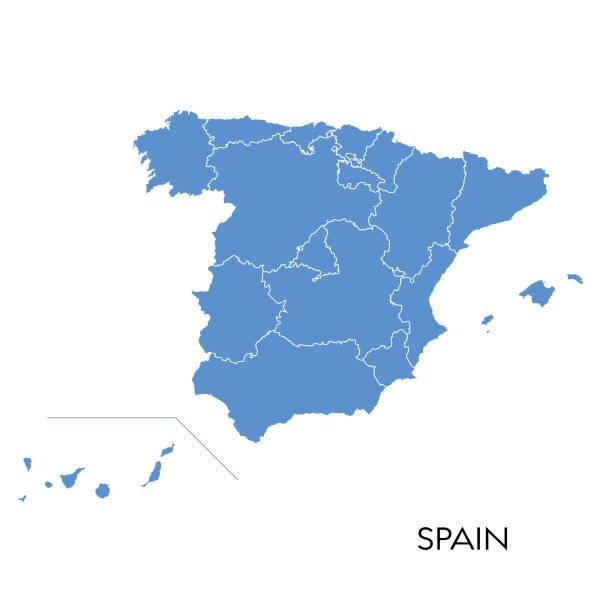 spanien map - spanien stock-grafiken, -clipart, -cartoons und -symbole