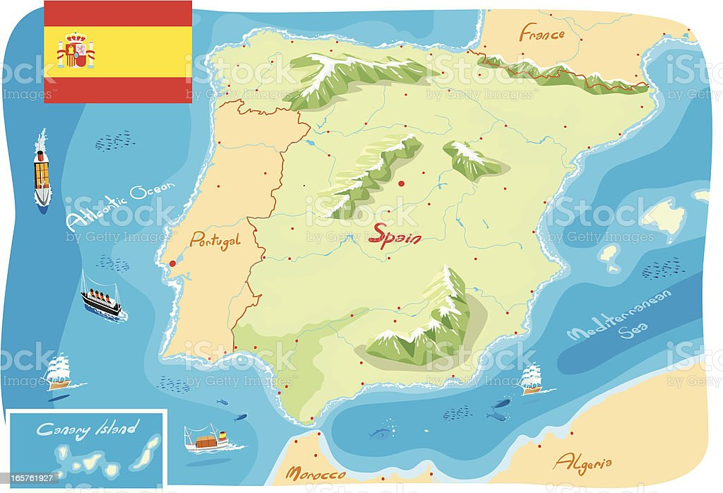 Spain map royalty-free stock vector art