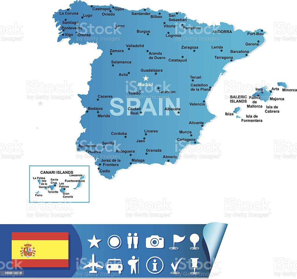 Spain Map Stock Vector Art More Images of Blue 165813518 iStock