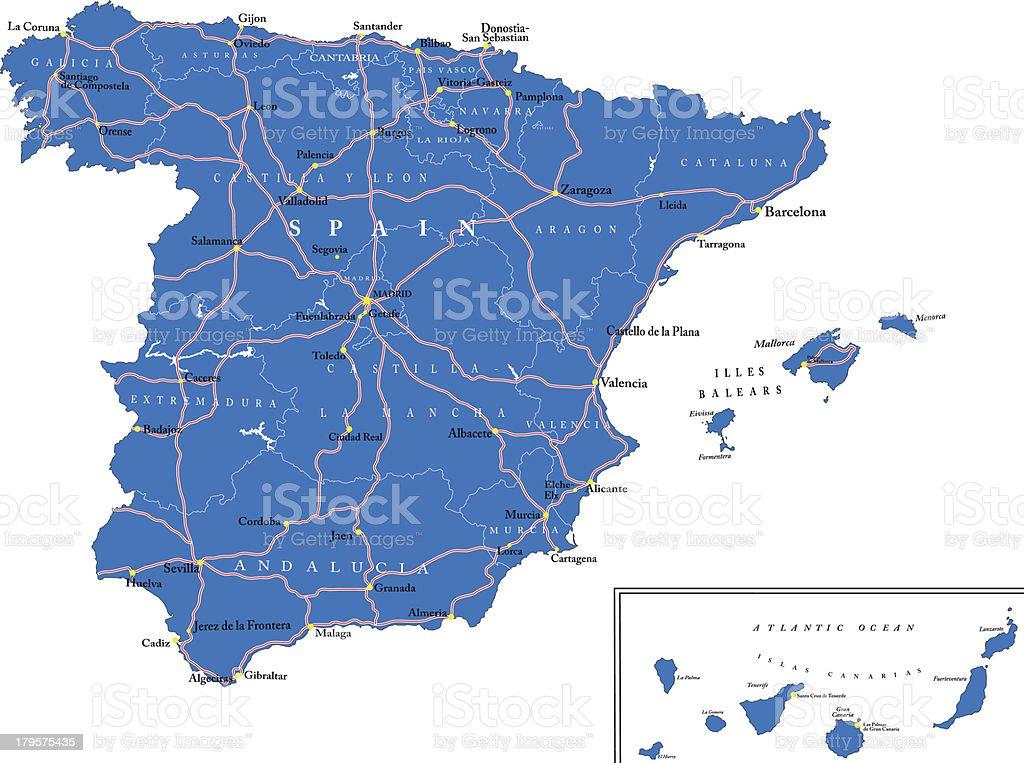 Spain map royalty-free stock vector art