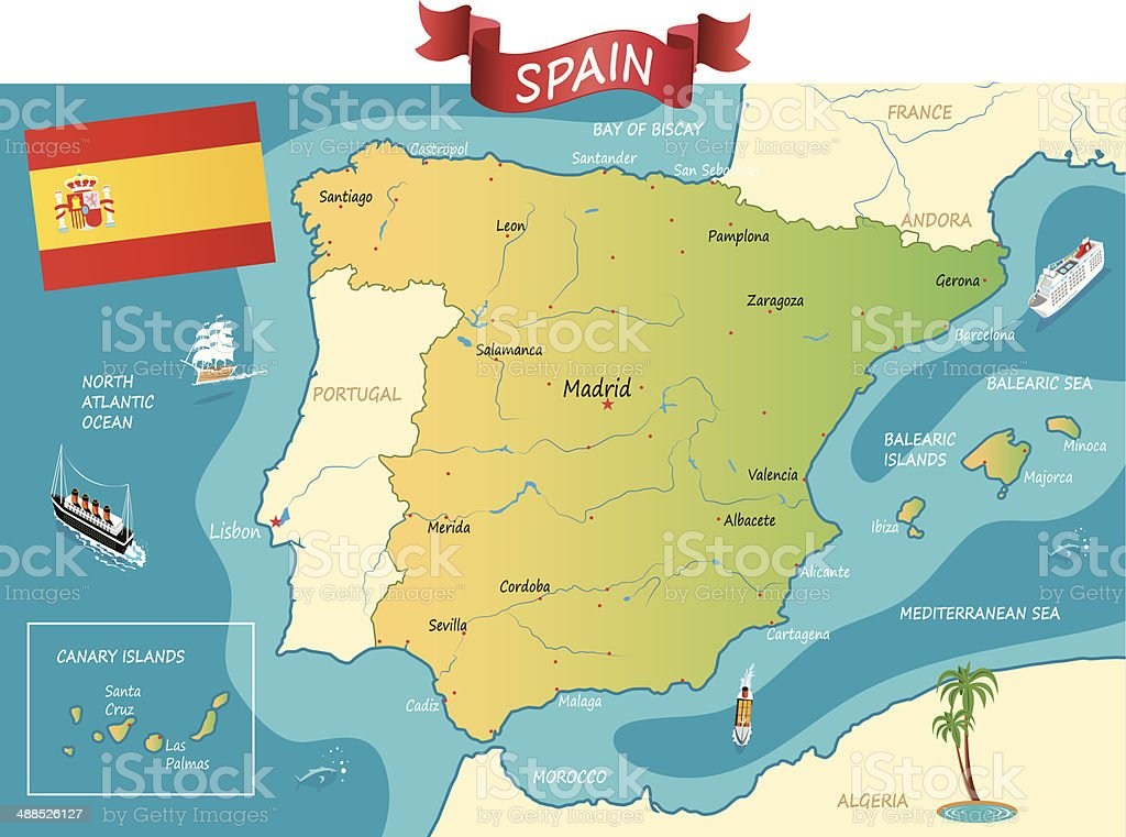 Coast Of Spain Map.Spain Map Stock Vector Art More Images Of Antoni Gaudi Istock