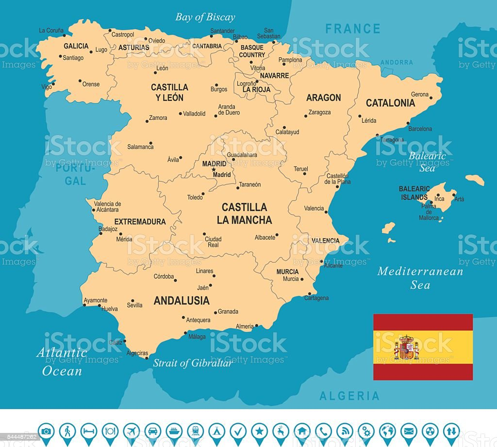 Spain Map Stock Vector Art More Images Of Aragon 544487262 Istock