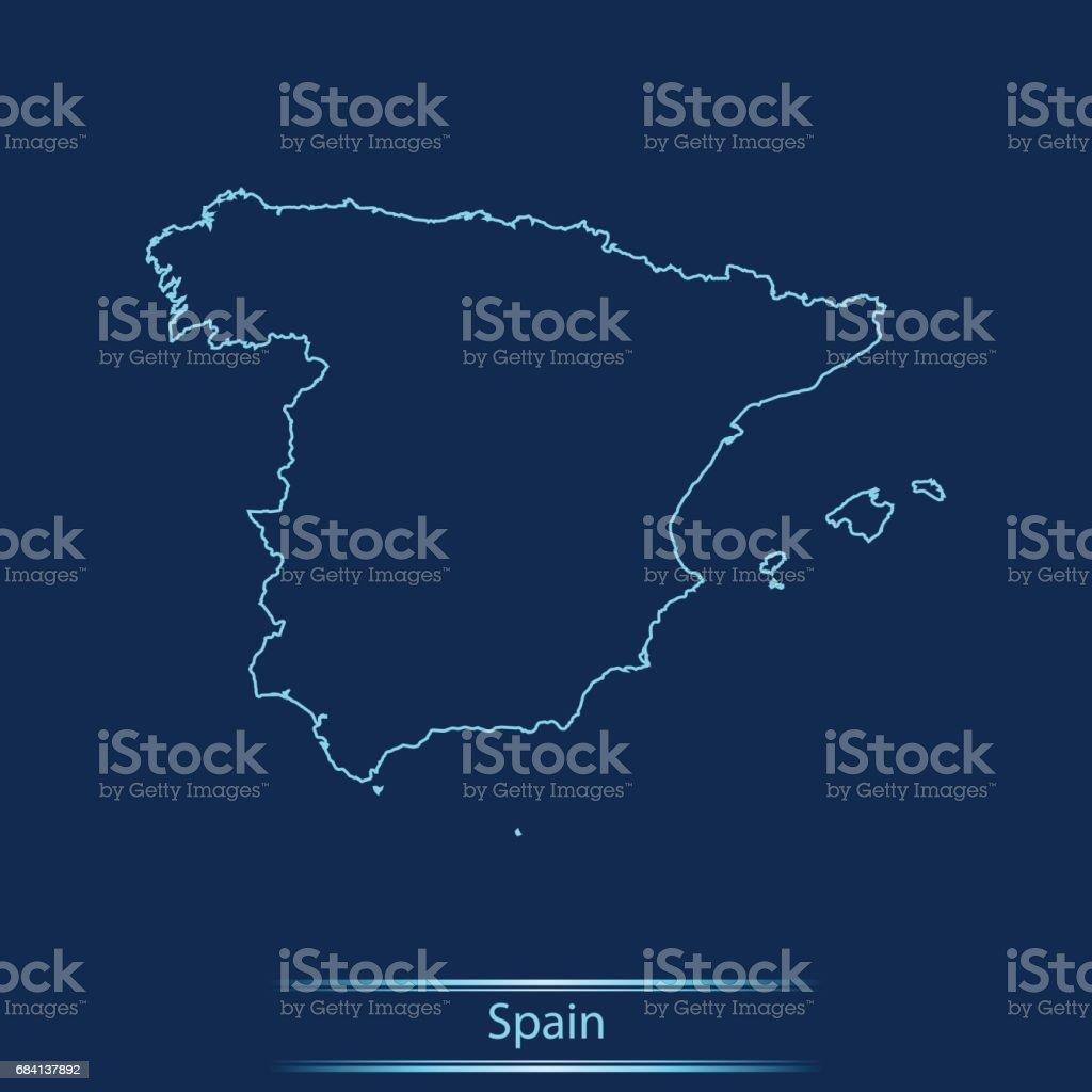 Spain map royalty free spain map stockvectorkunst en meer beelden van blauw