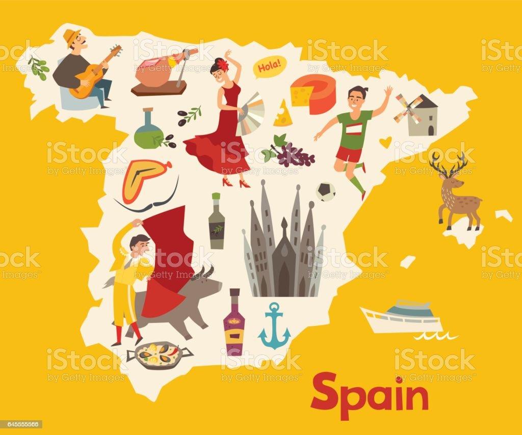 スペイン地図ベクトル。子供のためのスペインのイラスト マップ ベクターアートイラスト